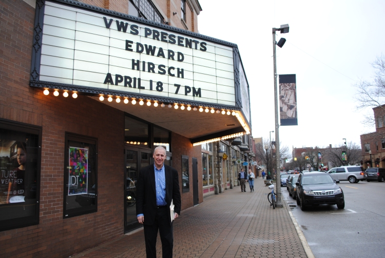Ed Hirsch in front of the Knickerbocker Theater, where he gave an unforgettable reading.